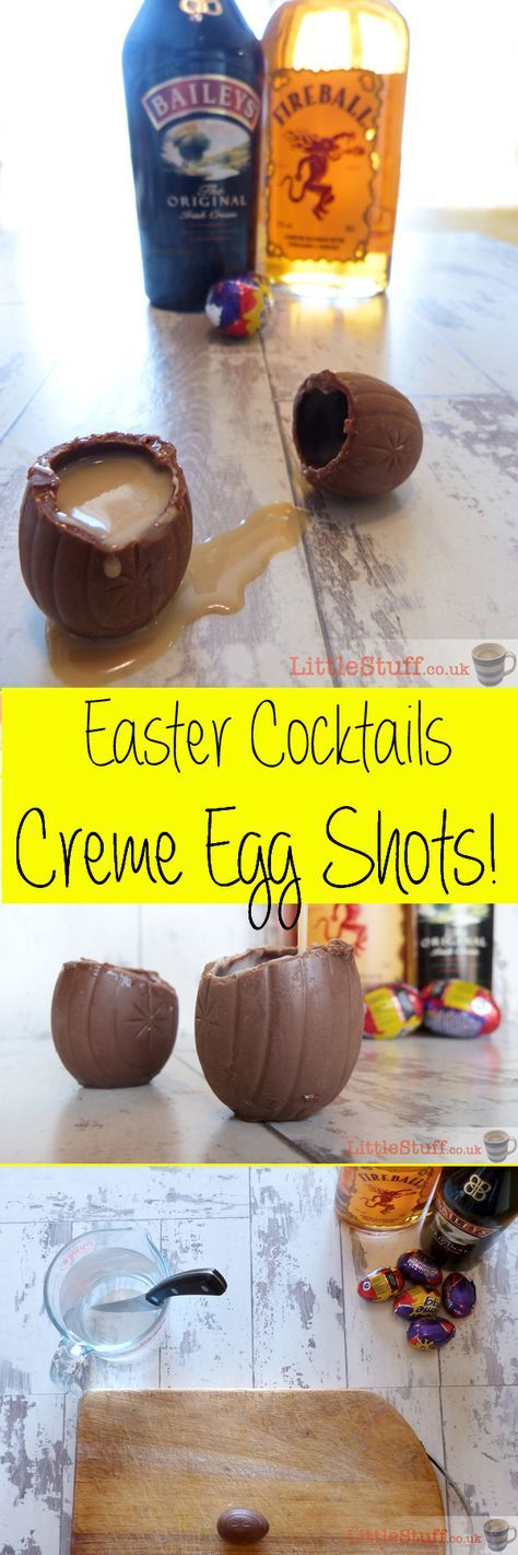 Perfect Easter Cocktails - Creme Egg Shots, filled with a spicy Fire Extinguisher. 1 - Hollow out the Creme Egg 2 - fill with equal parts Baileys Irish Cream and Fireball Whisky 3 - enjoy ;) The spicy liqueur chilled is an incredible sensation, and if you warm it before filling the egg shot cups it melts a little of the inside of the egg to add a subtle chocolatey-ness which is amazing.