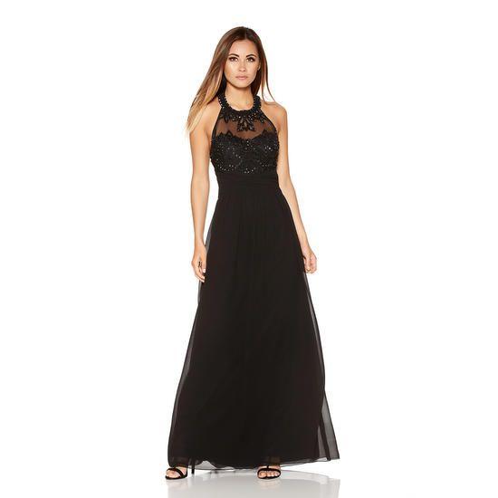 Robe longue sequins noir