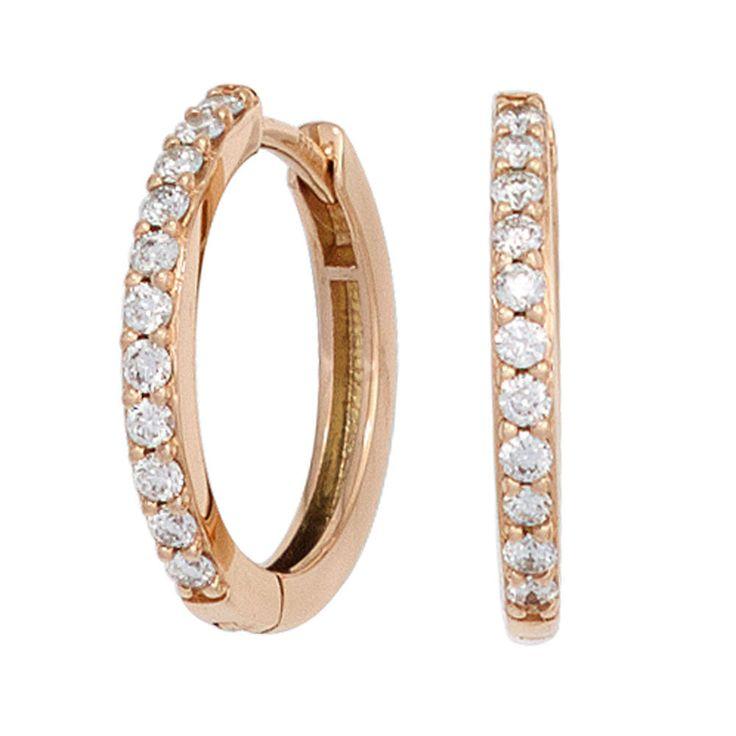 NEU 585er Diamanten Creolen echt Gold Rosegold Ohrringe rund 14 Karat 0,33 ct.
