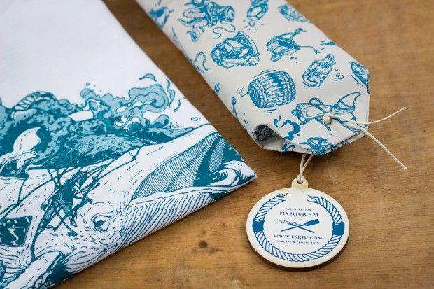 Ahab, camisetas serigrafiadas con un packaging único diseño de eskju y Pixeljuice 23