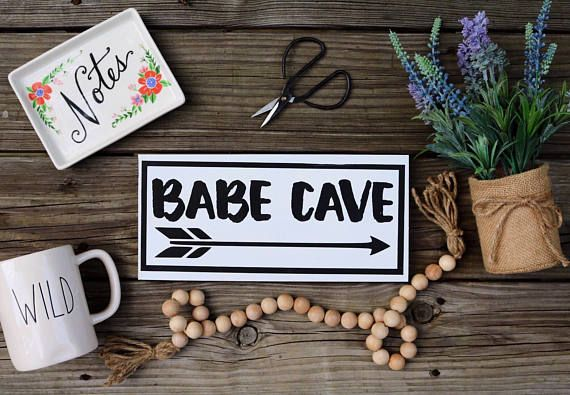Babe Cave Sign - Craft room Decor - Craft room Sign - Office Sign - Dorm Room -Sorority - Makeup Artist / Hair Stylist Gift - Vanity Decor - Salon Decor - Hair Dresser Gift - Graduation gift - College decor - she shed sign - boss babe - girl boss - crafty af