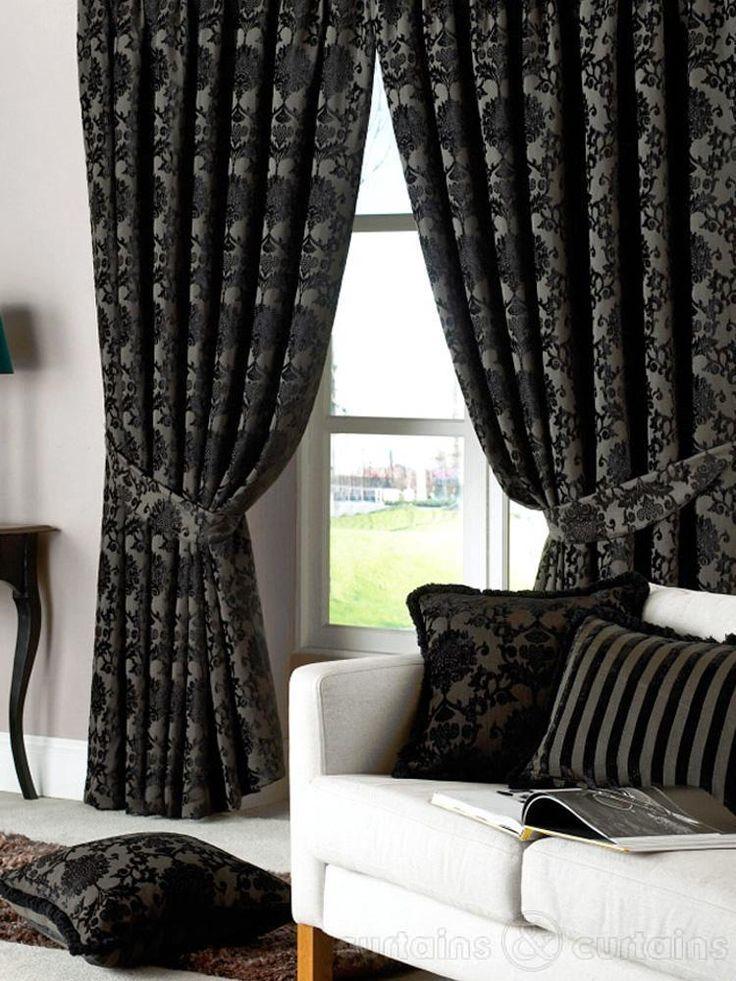 Dulux Luxury Heavy Thick Cut Velvet Black Eyelet Curtain