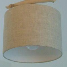 Abat-jour cylindre tissu lin rond 25cm - création unique