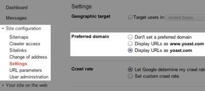 Google Webmaster Tools domeniu preferat
