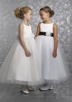 Bateau Tulle Ankle-length Ball Gown Ivory Flower Girl Dress(BTFG241)