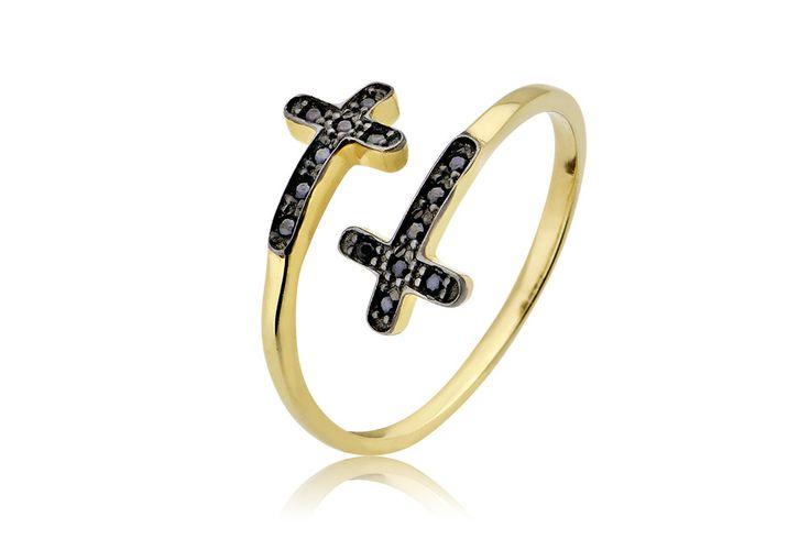Krouaze Ring with ''Crosses'' Δαχτυλίδι με μαύρα cz από κίτρινο χρυσό 14Κ. Price : 200€