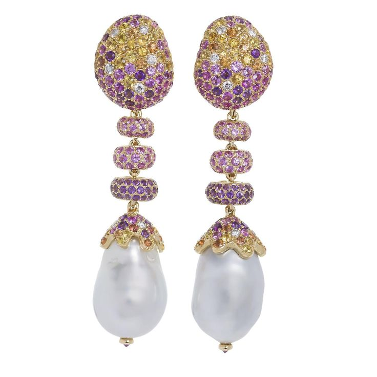 Margot McKinney's Bliss baroque pearl earrings are made of 18 carat white and yellow gold and are set with white diamonds, pink, yellow, and orange sapphires and amethyst. Discover the baroque pearl harvest that sees incredible jewellery with pearls, opals, gemstones and more designed by the incredible Australian jewellery designer: http://www.thejewelleryeditor.com/jewellery/article/margot-mckinney-baroque-pearls-rock-our-world/ #luxury