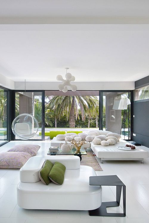Modern White Living Spaces Interior Villa in France.
