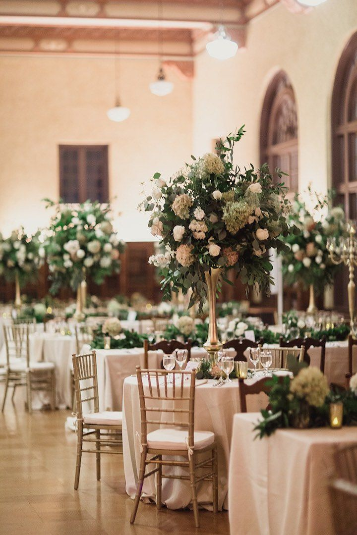 photographer: Shaun Menary Photography; Green, white and gold ballroom wedding reception idea;