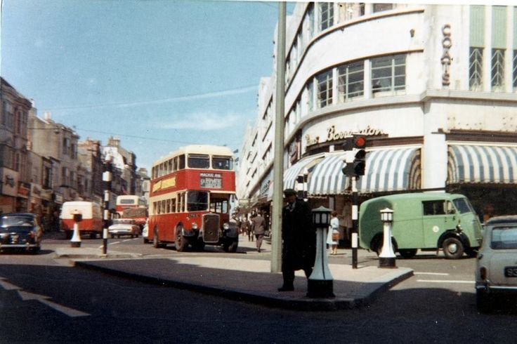 Entrance to Western Road in pre-Churchill Sq. days. Sometime between 1961-1964. Copyright Tom Canneaux.