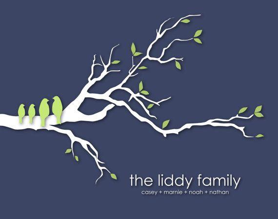 "Personalized Custom Love Bird Family Tree Branch - Housewarming/Anniversary/Wedding Gift- 11""x14""  $21.00   (the phipps family)"