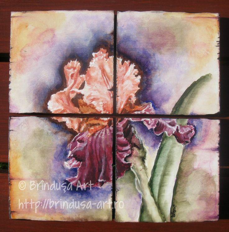 Brîndușa Art Four-piece painted set, acrylics on wood. Iris / rainbow flower painting... Set format din patru piese de lemn, pictate în culori acrilice. Iris (floarea curcubeului), tablou pictat pe lemn...  #iris #rainbow #flowers #woodpainting #art