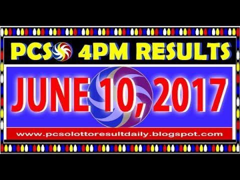 PCSO 4PM LOTTO RESULTS JUNE 10, 2017 (SWERTRES & EZ2)