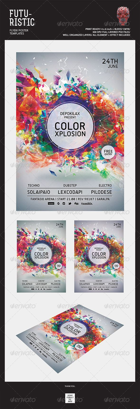 Futuristic Flyer Templates  #abstract #art #bass • Available here → http://graphicriver.net/item/futuristic-flyer-templates/5455491?s_rank=53&ref=pxcr