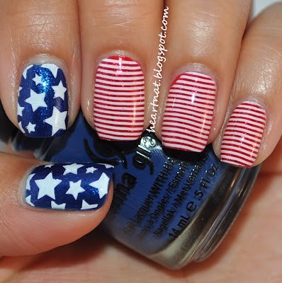 American Patriotic nail design, memorial day, 4th of July and Labor day