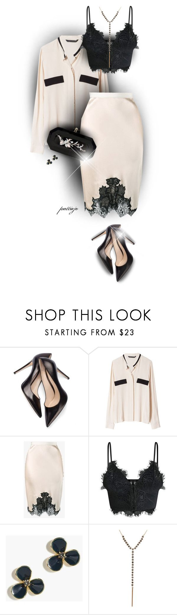 """""""Slip Skirt"""" by rockreborn ❤ liked on Polyvore featuring Zara, Helmut Lang, J.Crew, Marchesa and Humble Chic"""