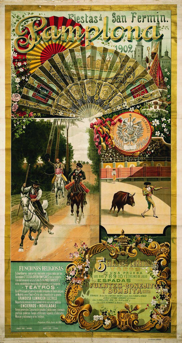 Cartel de los Sanfermines de 1902 - Fiestas y ferias de San Fermín, Pamplona.