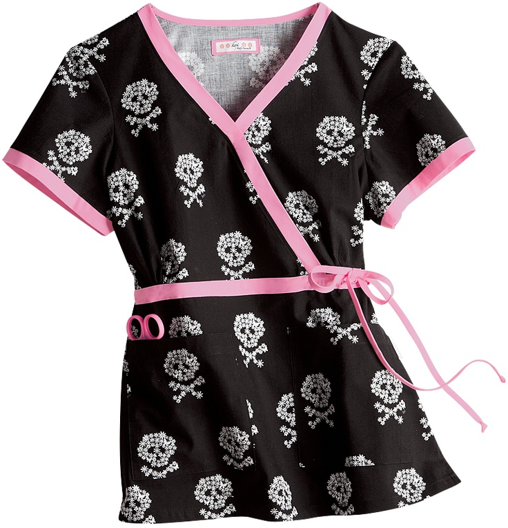 Dont believe this is appropriate for any medical setting but I love skulls! Scrubs - Koi 100% Cotton Skull N Bones Kathryn Scrub Top.