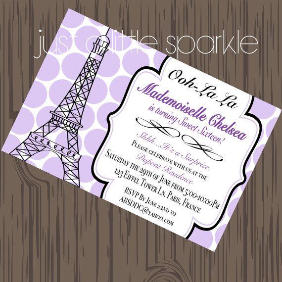 Paris Invitation, Printable, DIY ONLY, Eiffel tower invites, Ooh La La Invites, French theme invites