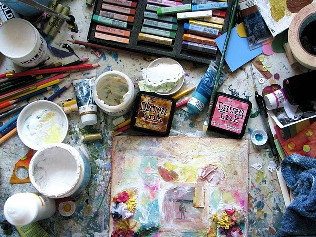 Messy art table! I'm glad i'm not the only one. If it isn ...