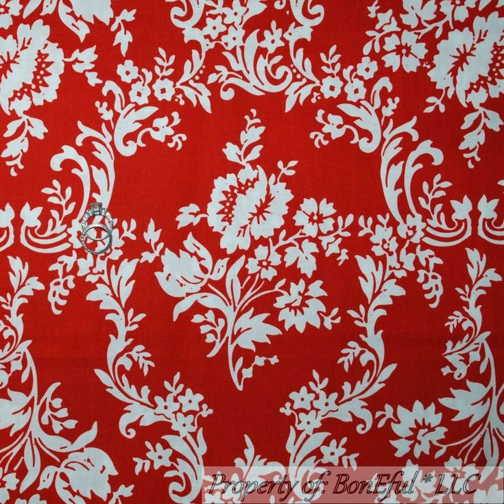 BonEful FABRIC FQ Cotton Quilt Red White Rose Flower Toile Damask US Xmas Calico #RileyBlakeDesigns