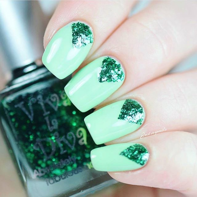 "Delicious nails on @just.mynails with Viva la Diva ""Applepolitan"" and ""Explosion""  Love!  #vivaladivacosmetics #vivaladiva #nailpolish"