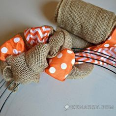 DIY Summer Burlap Wreath: Orange Chevron and Polka Dot - Kenarry.com #blingmybox