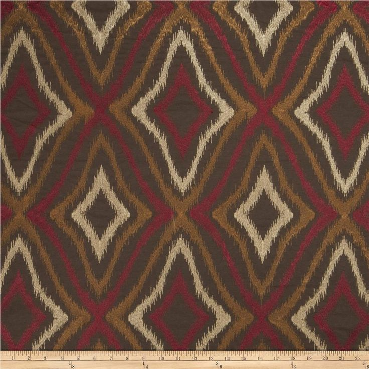 This beautiful medium/heavyweight fabric features a flamestitch / bargello embroidery throughout. Perfect for draperies, swags, duvet covers, shams, toss pillows, and light upholstery projects.