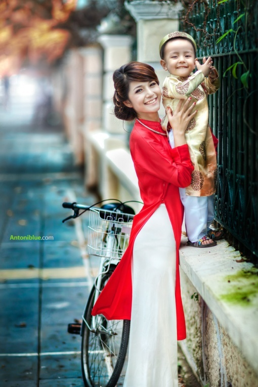 Simple red ao dai with short length