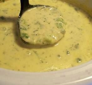 Broccoli Cheese Soup for the Crock Pot-substitute cheddar cheese for velveta and cream of mushroom soup for chicken soup.