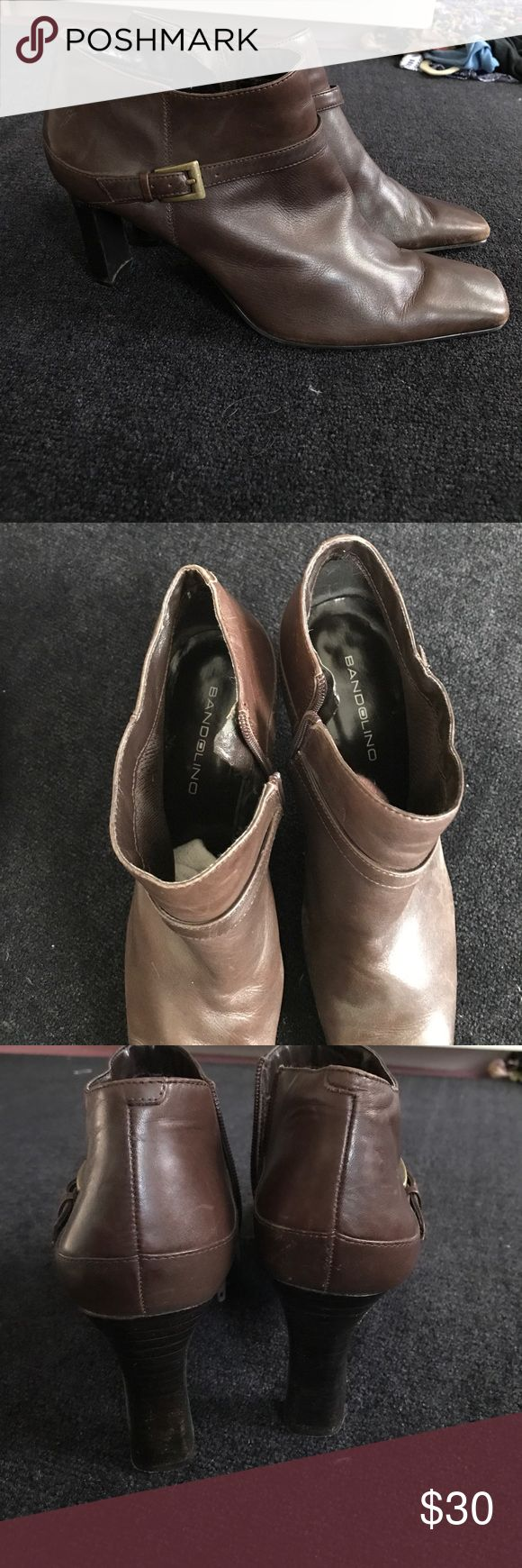 Bandolino Dark Brown leather buckled ankle boots Great condition dark brown leather ankle boots with a gold buckle accent on the outside, zipper on the inside. Square toed. Bandolino Shoes Heeled Boots
