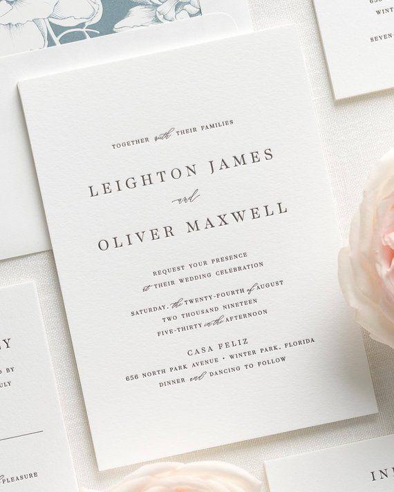 Letterpress Wedding Invitations.Leighton Letterpress Wedding Invitations Sample Products In 2019
