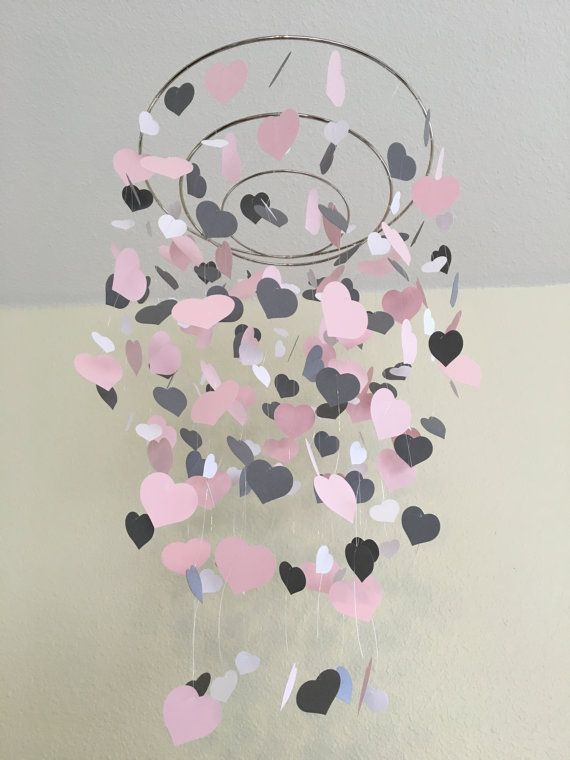 heart mobile, grey, pink, white, baby crib mobile, nursery decor, classroom decor, baby shower decor, unique gift, wedding decor, birthday