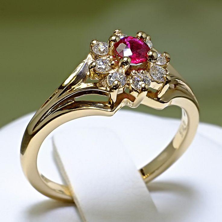 Inel de logodna, din aur cu rubin si diamante II Cod produs: i006RbDi