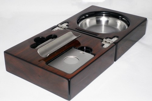 New Walnut Folding Cigar Ashtray Set with Cigar Cutter | eBay