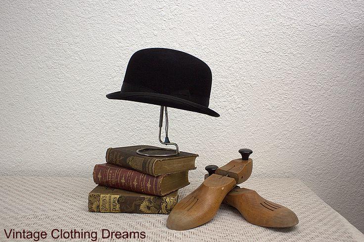 "Vintage Bowler Hat Derby Hard Crown Black Hat with Banded Brim Hard Top Bowler Hat Equestrian 21.5"" Size 3-49 by VintageClothingDream on Etsy https://www.etsy.com/listing/111088547/vintage-bowler-hat-derby-hard-crown"