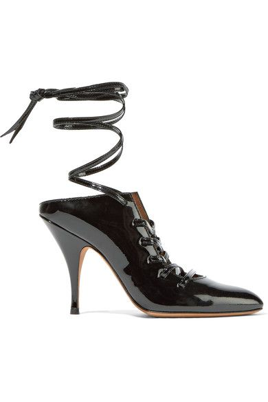 Givenchy - Lace-up Patent-leather Mules - Black - IT