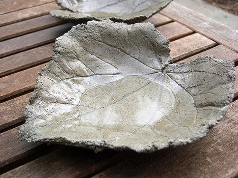 Frugal garden art - cement leaf castings