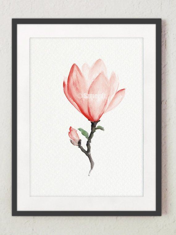 Magnolia Original Painting Pink Flower Poster by ColorWatercolor  #magnolia #pink #flower #watercolor #painting