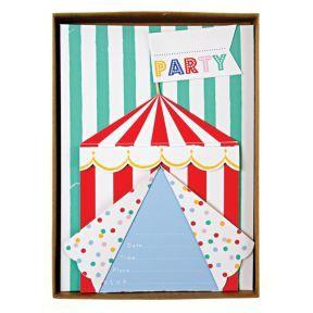 Für eine bunten Kindergeburtstag ist diese schöne Einladungskarte  - Zirkus Party http://www.helavik.de