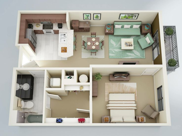 brilliant studio apartment blueprint. A spacious bed and bath  HUGE walk in closet a charming living space gives this comfortable cozy one bedroom personality 180 best 3D Appartment Plans images on Pinterest Apartment plans