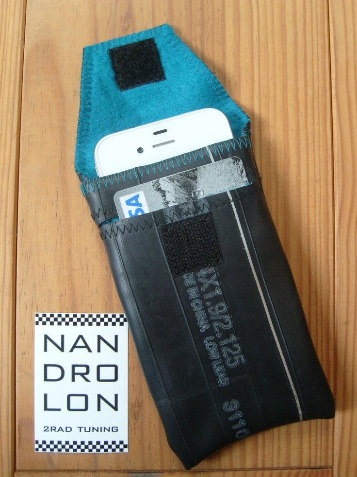 iPhone Case made ​​from recycled bike tube, with credit card slot, blue