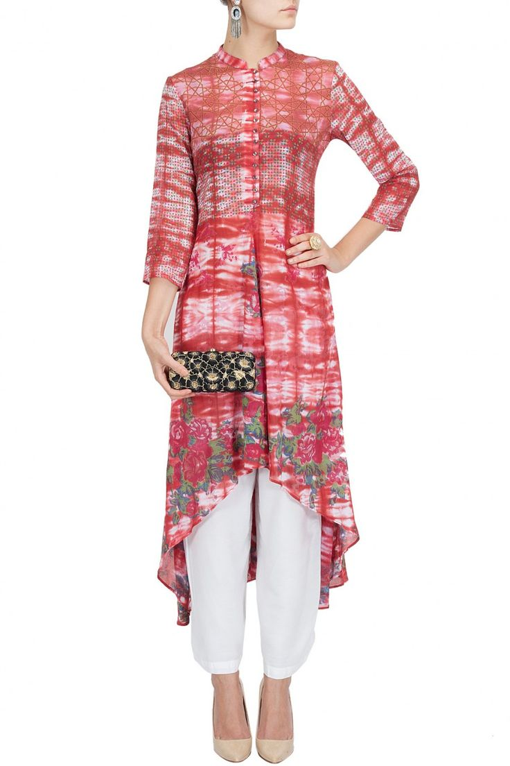 Red tie and dye asymmetrical kurta with trousers BY KRISHNA MEHTA.Love the trousers.
