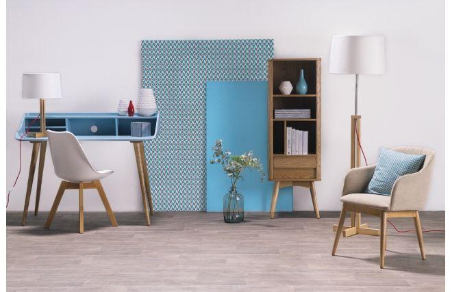 Bureau design frêne teinté bleu clair NORDECO - Dos
