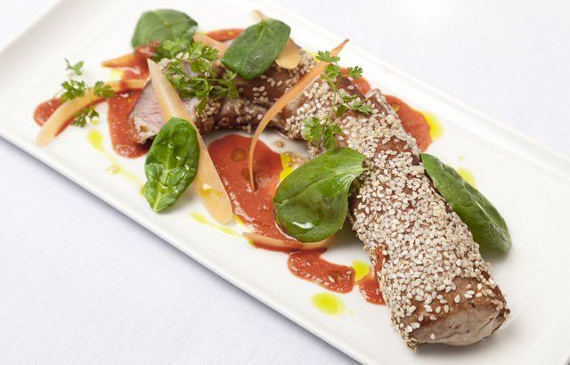 Fillet of pork with honey and sesame seeds, carrot and ginger sauce   a  Galton Blackiston's recipe