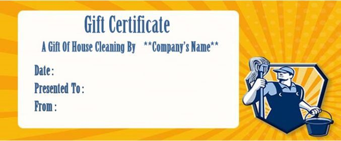 House Cleaning Gift Certificate Template 10 Free Personalized