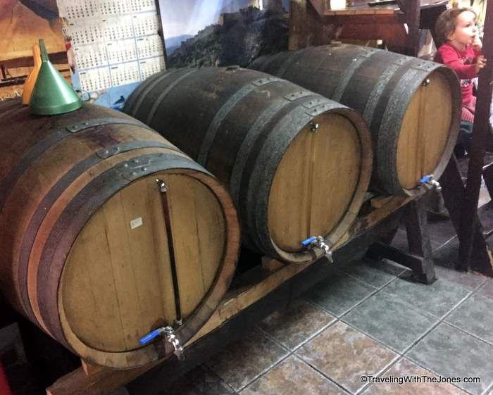 fill-your-own wine bottle at Bodega Pep in Barcelona, Spain