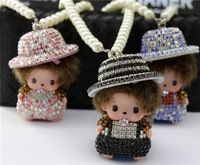 New Cute Caps Monchichi Doll Keychain Rhinestone Faux Pearls Car Keyring Creative Women handbag Charm Key holder Bag pendant