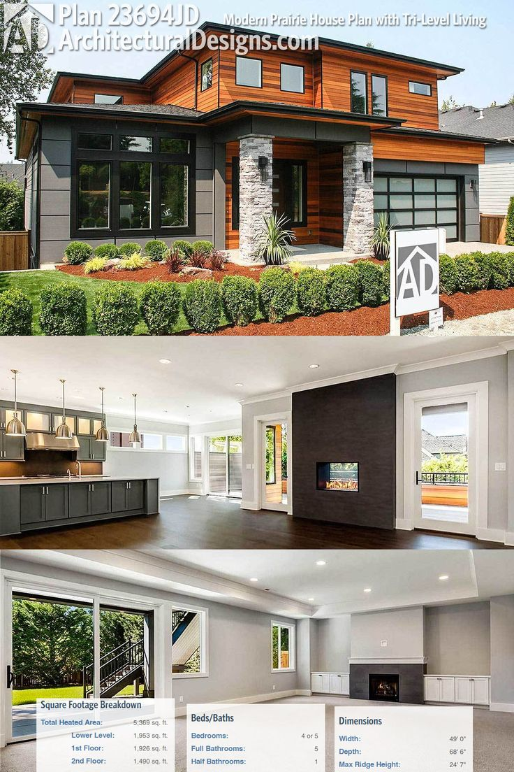 Architectural Designs Modern Prairie House Plan 23694JD has a 2-story foyer and 3 levels of living combining for over 5,000 square feet of heated living space. Ready when you are. Where do YOU want to build?