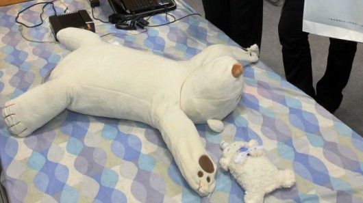 Jukusui-Kun is a polar bear-shaped robotic pillow equipped with a pulse-oxygen meter and a moving paw that gently touches the sleeper's face to stop snoring !!!!!!!!!!!!